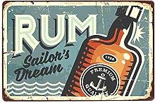 shovv Metallblechschild Rum Wein Vintage