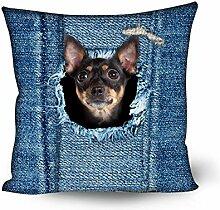 showudesigns Denim Katze Hund Blau Kissen Kissen Schutzhülle für Schlafzimmer Decor Hund 2
