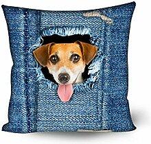 showudesigns Denim Katze Hund Blau Kissen Kissen Schutzhülle für Schlafzimmer Decor Dog 1