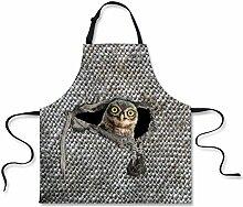 showudesigns Designer Grau gedrucktes Animal Cat Chef Kochen Schürzen Küche Zubehör Maschinenwaschbar, Polyester, color 6, M
