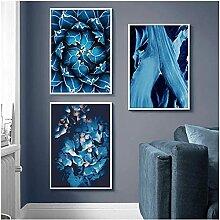 SHPXMBH Kunstdrucke Blaue Sukkulenten Blumen