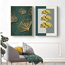 SHPXMBH Leinwand Bilder Abstrakt Grün Gold Ginkgo