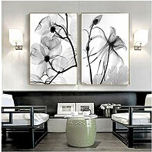 SHPXMBH Leinwanddrucke Nordic Schwarz Weiß Blume