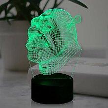 Shrek Lampe Acryl Kreative 3D LED Illusion Night