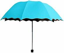 Shuang Yu Zuo Falten Sonnenschutz Anti-lila Linie Regenschirm,Blue