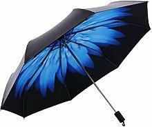 Shuang Yu Zuo Gänseblümchen Sonnenschutz- Taschenschirm,Blue