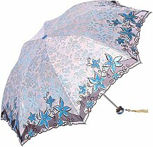 Shuang Yu Zuo Sonnenschutz Falten Leicht Stickerei Regenschirm,Blue