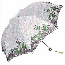 Shuang Yu Zuo Sonnenschutz Falten Leicht Stickerei Regenschirm,Green
