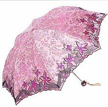 Shuang Yu Zuo Sonnenschutz Falten Leicht Stickerei Regenschirm,Pink