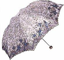 Shuang Yu Zuo Sonnenschutz Falten Leicht Stickerei Regenschirm,Grey