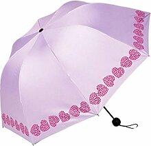 Shuang Yu Zuo Weiblich Vinyl Sonnenschutz- Gefaltet In Zwei Schatten Regenschirmen,Pink