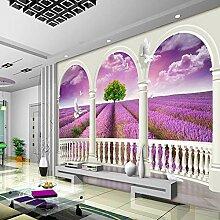 Shuangklei Landschaft Lila Lavendel 3D Wand