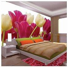 Shuangklei Lila Tulip Blume Wandbild Vinyl Tapete