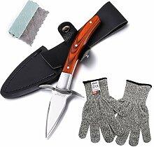 Shucker Austernmesser und Handschuhe mit Holzgriff