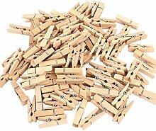 Shuda 100 Stück Holzklammern Wäscheklammern Mini