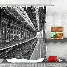 SHUHUI Schwarz-Weiß-Foto Bahnhof Duschvorhang