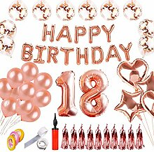 SHUIBIAN 18 Geburtstag Dekoration Rose Gold
