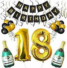 SHUIBIAN 18 Geburtstag Dekoration Schwarzes Gold