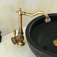 SHUILT Badezimmer Waschbecken Wasserhahn mit Messing Antik-Finish-Bambus-Form-Design