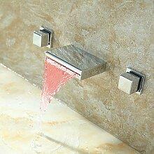 SHUILT Badezimmer Waschbecken Wasserhahn Wandhalterung mit wechselnden LED Wasserfall