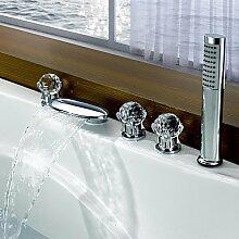 SHUILT Moderne Moderner Stil 3-Loch-Armatur Wasserfall with Messingventil Drei Griffe Fünf Löcher for Chrom , Badewannenarmaturen