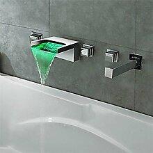SHUILT Moderne Moderner Stil LED 3-Loch-Armatur Wasserfall Wand with Messingventil Drei Griffe Fünf Löcher for Chrom , Badewannenarmaturen