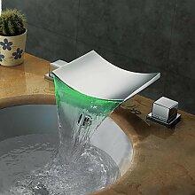 SHUILT Zeitgenössisch 3-Loch-Armatur LED Wasserfall with Messingventil Zwei Griffe Drei Löcher for Chrom , Waschbecken Wasserhahn