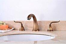 SHUILT Zeitgenössisch Antik 3-Loch-Armatur Breite spary with Messingventil Zwei Griffe Drei Löcher for Antikes Kupfer , Waschbecken Wasserhahn