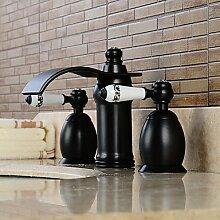 SHUILT Zeitgenössische Verbreitung große Kaskade zwei Griff Keramik Ventil für Dreiloch-Beschichtung, Kupfer Waschbecken Wasserhahn