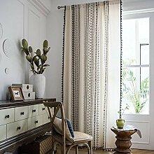 Shukii Vorhang aus Baumwoll-Leinen, mit schwarzen