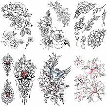Shuxy 6 Blatt Rose Tattoo Mädchen Temporäre