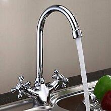 shuyou® Hohe Qualität Doppel Griff verchromt Waschbecken Wasserhahn–Silber