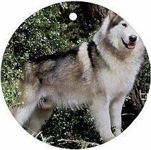 Siberian Husky Hund Ornament rund Porzellan Weihnachten tolle Geschenkidee