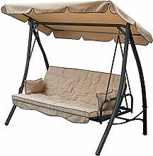 SIBrand Hollywoodschaukel 3-Sitzer Beige mit Bett