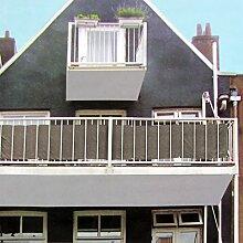 Sichtschutz 445x76cm für Balkon Zaun Geländer, Polyester in Champagner, Blickschutz Windschutz Sonnenschutz Trennwand