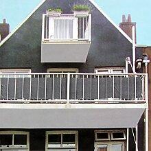Sichtschutz 445x76cm für Balkon Zaun Geländer, Polyester in Anthrazit, Blickschutz Windschutz Sonnenschutz Trennwand