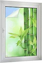Sichtschutz Bambus mit Blättchen B x H: 60cm x 90cm von Klebefieber®