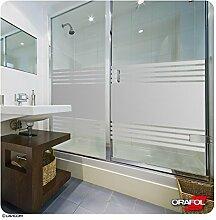 Sichtschutz Dusche Sauna Schwimmbad Duschkabine Bad Sichtschutzfolie Streifendesign - Glasdekorfolie inkl. kostenloser Maßanfertigung