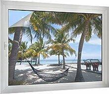 Sichtschutz Hängematte am Strand B x H: 80cm x 60cm von Klebefieber®
