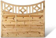 """Sichtschutz Holz Gartenzaun mit Bogen + Rankgitter im Maß 180 x 160 auf 140 cm (Breite x Höhe) aus Kiefer / Fichte, druckimprägniert """"Köln Bogen"""