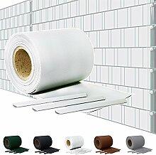 Sichtschutz PVC Doppelstabmatten Zaunfolie Windschutz Sichtschutzstreifen Blickdicht Windschutz 5 Farben Kingpower, Farbe:Weiß;Rollenlänge:65 m