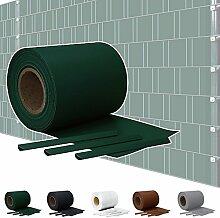 Sichtschutz PVC Doppelstabmatten Zaunfolie Windschutz Sichtschutzstreifen Blickdicht Windschutz 5 Farben Kingpower, Farbe:Grün;Rollenlänge:65 m