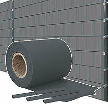 Sichtschutz PVC Doppelstabmatten Zaunfolie Windschutz Sichtschutzstreifen Blickdicht Windschutz Graublau Kingpower, Rollenlänge:65 m