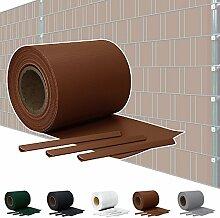 Sichtschutz PVC Doppelstabmatten Zaunfolie Windschutz Sichtschutzstreifen Blickdicht Windschutz 5 Farben Kingpower, Farbe:Braun;Rollenlänge:35 m
