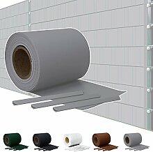 Sichtschutz PVC Doppelstabmatten Zaunfolie Windschutz Sichtschutzstreifen Blickdicht Windschutz 5 Farben Kingpower, Farbe:Grau;Rollenlänge:65 m