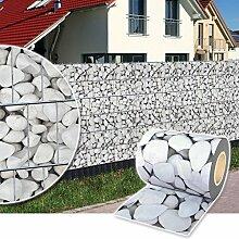 Sichtschutz Rolle 35m blickdicht PVC Zaunfolie Windschutz für Doppelstabmatten Zaun (Marmorkies)