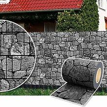 Sichtschutz Rolle 35m blickdicht PVC Zaunfolie Windschutz für Doppelstabmatten Zaun (Stein-Anthrazit)