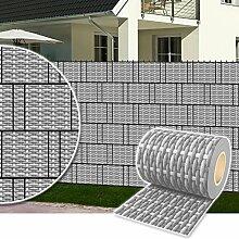 Sichtschutz Rolle 35m blickdicht PVC Zaunfolie Windschutz für Doppelstabmatten Zaun (Rattan-Rustikal)