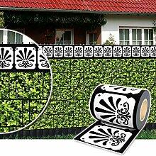Sichtschutz Rolle 35m blickdicht PVC Zaunfolie Windschutz für Doppelstabmatten Zaun (Zierstreifen-Ornament)