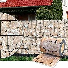 Sichtschutz Rolle 35m blickdicht PVC Zaunfolie Windschutz für Doppelstabmatten Zaun (Stein-Terracotta)